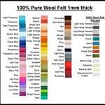 100% PURE WOOL FELT CHOOSE YOUR OWN COLOURS* 6 Squares 30cm x 25cm