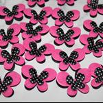 25pcs Padded Butterfly Applique Pink Black Polka Dot