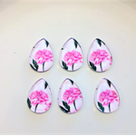 Beads, cabochons, glass, flat back, teardrop, pink flowers.