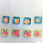 Beads, cabochons, glass, square, flat back, flowers.