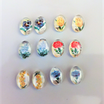 Beads, cabochon, glass, flat back, oval, vintage flowers.