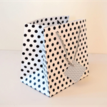 5x SMALL Square Black/White Polka Dot Paper GIFT BAGS w/ Rope Handles