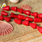 10 Red Coral Cone shaped beads