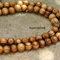 30 Brown natural wood rounded round ball beads 12mm
