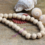 40 Off White textured beehive wood rounded beads 12x13mm