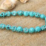 20 Sugar Skull Blue Turquoise Howlite beads 10mm