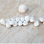 24 Off White Howlite stone teardrop top drilled beads 20x15x8mm