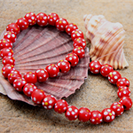 36 Red Round flower painted round wood wooden beads 10mm