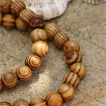 25 Brown natural wood rounded round ball beads 14mm