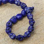14 Sugar Skull 13mm Indigo Blue Howlite (dyed) beads