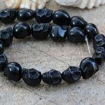 14 Sugar Skull 13mm Black Howlite (dyed) beads