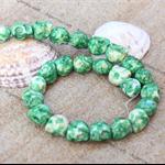 14 Apple Green Skull Marbled Ceramic Porcelain Loose beads 12mm