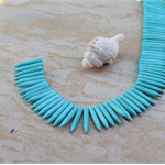 80 Howlite Turquoise blue top drilled spike beads 30x5mm