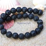 16 Black Lava stone Lavastone round beads 10mm
