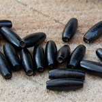 50 Black Oval Rice wood wooden spacer beads 22mm x 8mm