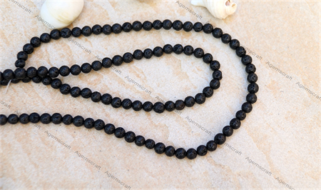 62 Black Lava stone Lavastone round beads 6.3/ 6.5mm