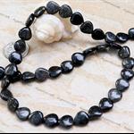 40 Grey Black Agate gemstone Heart shaped beads 10mm