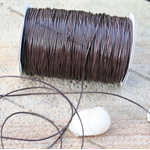 1mm thick Leather like Chocolate Brown Waxed polyester braided Cord cut to order