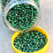20g Green Silver Foiled Glass Seed Beads size 6/0