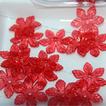 30 Red Acrylic Lucite Flower Snowflake shaped Bead Caps 27x5mm