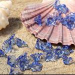 50 Blue clear transparent acrylic flower bead caps 7x12mm