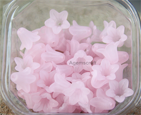 30 Soft Pink Lucite Acrylic Flower Seafoam Frosted bead caps 13x15mm