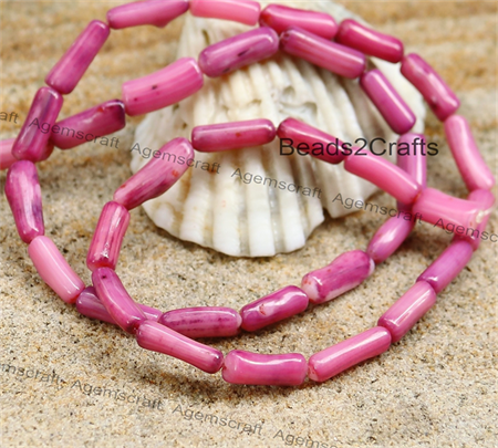 35 Dusky Pink Colour Tube shaped genuine coral beads 8-13mm long x 3-5mm