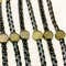 8 black plaited leatherette Bracelets with bronze bezels
