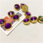 11 Purple and gold vintage buttons