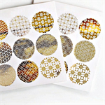 Japanese Print {18} Gold Foil  Transparent Seals | Round Gold Stickers Seals