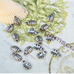 12 Lady bug  silver tone small charm beads 12x7mm