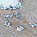 6 silver tone ABC open study book charm pendant 12x11mm  Pendant drop