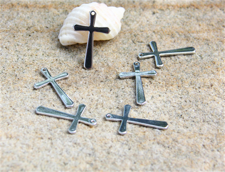 5  Cross charms both sided Pendant drop silver steel tone