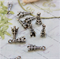 14 Tower Charms Pendants Embellishments Silver tone 17x6mm