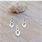 6 Spiral charms  for earrings pendant silver tone,35x11mm