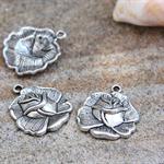 6 x Flower Rose metal Charm Pendant drop  25x23mm