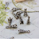 14 Tower Charms Pendants Embellishments Silver tone