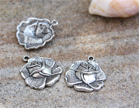 6 x Flower Rose metal Charm Pendant drop  25x23mm