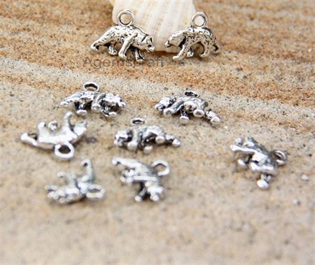 Polar Bear both sided cute charm pendant bead x 6