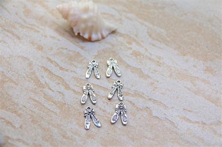 Ballerina Dancing Ballet Slipper Silver tone charm beads x 8