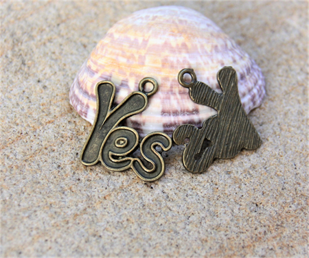 2 x YES Bronze tone  charm pendant 23x20mm