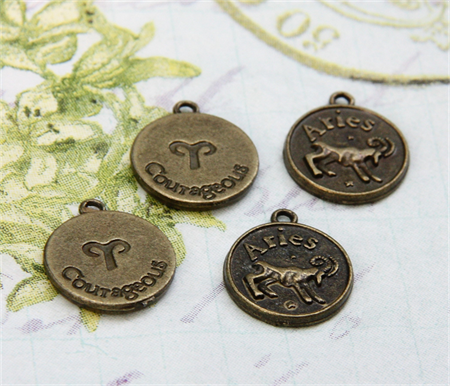 6x  Aries Zodiac both sides crafted bronze tone round charm pendant 18mm