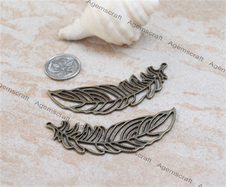 2 x Leaf Feather Pendant charm connector 65x20mm  bronze tone