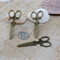 2 large Bronze tone Victorian style Scissors Charm Pendant 61x25mm