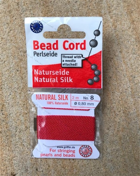 size 8 RED Beadalon Griffin Silk Beading Cord Attached Needle 2 meters