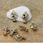 12 Retro Cooling Fan Antique Golden  tone Charms 18x11mm