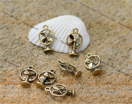 10 Retro Cooling Fan Antique Golden  tone Charms 18x11mm