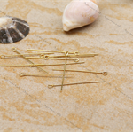 70 Gold plated Eye pin pins  40mm x 0.71mm, 21ga