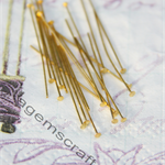 100 Gold tone brass 30mm x 0.5mm (24ga) Flat Head Pins