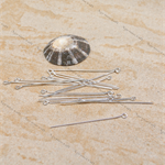 80 Silver plated  Eye pin pins  40mm x 0.71mm, 21ga